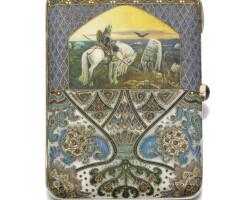 484. a fabergé silver and enamel cigarette case, workmaster feodor rückert, moscow, 1908-1917
