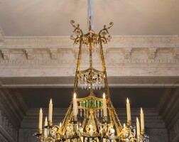5. a gilt-bronze,crystal, cut glass andgreen tinted glass chandelier, in the russian neoclassicalstyle  