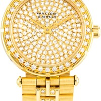124. van cleef & arpels   classiques, reference 16602 a yellow gold and diamond-set bracelet watch, circa 1990