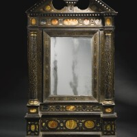 3. an italian antique marble inlaidblack lacquer and parcel-gilt tabernacle mirror frame, venice, late 16th century