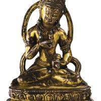 21. 十四至十五世紀 西藏 鎏金銅金剛薩埵坐像