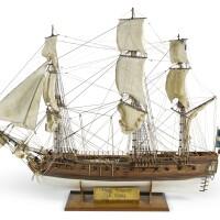 143. a1:64 model of the french 30-gun frigate 'la flore' [1770], 20th century