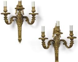 166. a pair of louis xvi ormolu three branch wall lights circa 1775