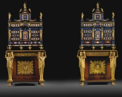 20. a pair of italian rosewoodpietre dure mounted, inlaid ebony cabinets, roman, circa 1625, on a pair of regencymahogany and parcel-gilt stands possibly to a design by c h tatham, first quarter 19th century