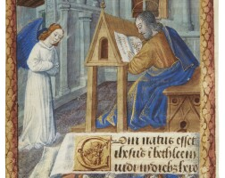 22. st matthew writing, full-page miniature on a leaf from a book of hours, in latin [france (bourges), c.1475)