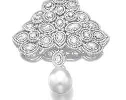 18. cultured pearl and diamond brooch, adler