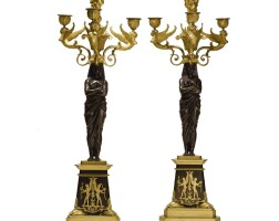 389. a pair of patinated and gilt bronze four-light candelabra 19th century and later