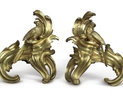 1001. a pair of louis xv style gilt bronze chenets |