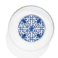 49. a blue and white 'peach' saucer dish yongzheng mark and period