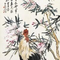 536. 王震 1867-1938 | 夾竹雄雞