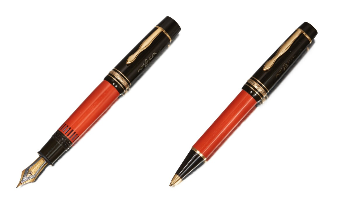 (LEFT) MONTBLANC, A BLACK AND ORANGE RESIN FOUNTAIN PEN, CIRCA 1992. ESTIMATE $1,200–1,800. (RIGHT) MONTBLANC, A LACQUER AND GOLD PLATED BALLPOINT PEN, CIRCA 2000. ESTIMATE $500–700.