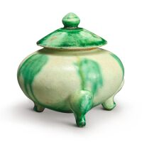 301. a green-splashed tripod censer and cover tang – five dynasties |