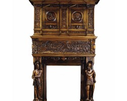 45. a rare and imposing carved walnut hearth surround with the holy roman emperor charles v and francois i, king of france, probably italian 19th century