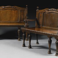 39. a pair of early george iii mahogany hall benches circa 1760, attributed to william and john linnell