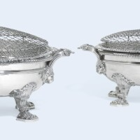 141. a pair of george iii silver vegetable dishes on two-handled hot-water stands, paul storr of storr & co. for rundell, bridge & rundell, london, 1813 |