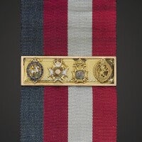 39. miniature orders: a gold bar mounted with four miniature orders as worn by adolphus, first duke of cambridge |