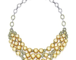 1633. cultured pearl and yellow sapphire necklace