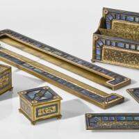"346. tiffany furnaces | seven piece ""art deco"" desk set"