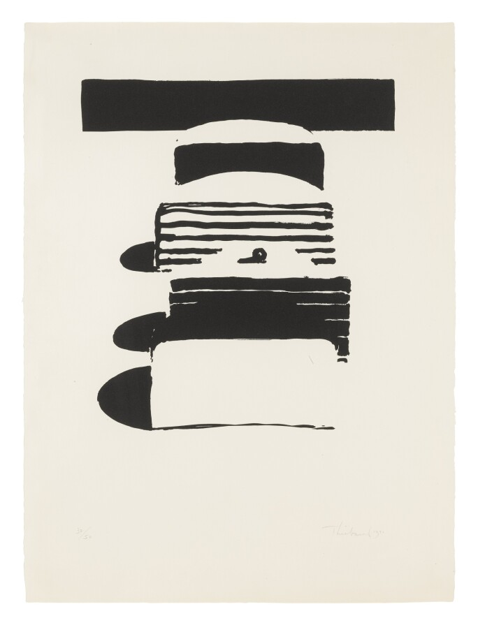 Monochrome print of cake slices by Wayne Thiebaud