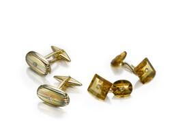 35. group of 18k yellow gold and diamond cufflinks