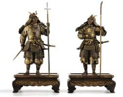 130. japon, époque meiji paire de samourai en bronze partiellement doré, signés miyao
