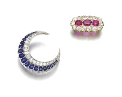 37. two gem set and diamond brooches, late 19th century and later