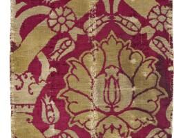 3. an ottoman voided velvet and metal thread fragmentary panel