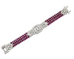 337. ruby bead and diamond bracelet, circa 1935
