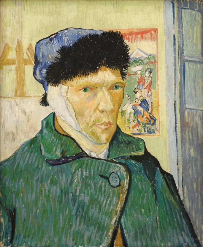 Self-portrait of Vincent Van Gogh with bandage over his right ear, in a green coat and a blue fur-trimmed hat.