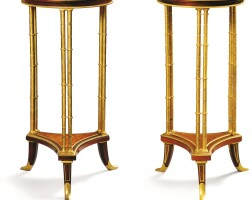 4. two french gilt-bronze and mahogany guéridons, paris, late 19th century, after a model by adam weisweiler, one signed henry dasson |
