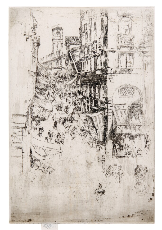 James Abbott McNeill Whistler, The Rialto (Kennedy 211; Glasgow 199). Signed with the butterfly with shaded wings and inscribed imp in pencil on the tab at lower left.