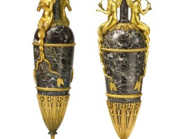 62. a pair of directoire style gilt bronze-mounted marble vases, now mounted as lamps