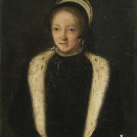 11. french school circa 1550 | portrait of a lady, half length, with a fur-trimmed collar