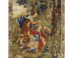 203. a pre-gobelins historical tapestry depicting a scene from the story of tancred and clorinda, probably from the workshop of raphael de la planche late 17th century