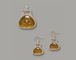 "1631. yellow jadeite ""ruyi"" and diamond pendant and pair of matching earrings"