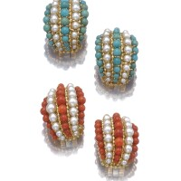 2. two pairs of cultured pearl, coral and turquoise earrings, 'twist', van cleef & arpels, 1960s