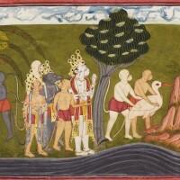 27. hanuman and the vanaraslearn of sita's location from the vulture sampati, an illustration to the ramayana,nurpur or mankot, circa 1710-20