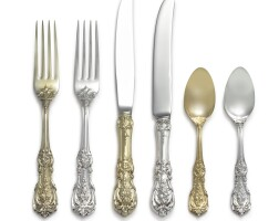 19. an american silver and silver-gilt francis i pattern flatware service, reed & barton, taunton, ma, 20th century |