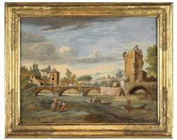 6. a set of five italian paintings on glass, in giltwood frames, venetian school 18th century