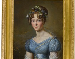 199. alexandre-jean dubois-drahonet | portrait of amélie du bois (1803–91), wife of lt.-gen. emile joseph frison, aide to king leopold ii, in a blue muslin dress, with flowers in her hair