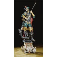 205. a south german polychrome painted and parcel-gilt limewood figure of saint george and the dragon baroque, 18th century