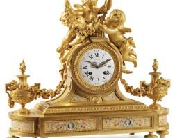 19. raingo frèresa french porcelain-mounted gilt-bronze mantle clock, circa 1860 |