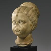 28. a roman marble portrait head of a girl, flavian or trajanic, circa a.d. 90-110