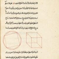 28. nasir al-din al-tusi (d.1274 ad), kitab usul al-handasa li-uqlidis, an exposition of euclid's'elements of geometry', signedby 'izz al-din ahmad, persia, safavid, dated 929 ah/1522-23 ad