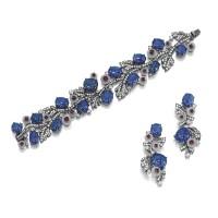 1644. 藍寶石, 紅寶石配白水晶及鑽石手鏈及吊耳環套裝