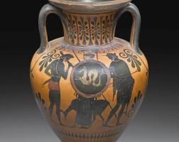 8. an attic black-figured amphora, attributed to the group of berkeley 8.3376, circa 520-500 b.c. | an attic black-figured amphora, attributed to the group of berkeley 8.3376