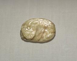216. a yellow jade 'qilin' carving yuan / ming dynasty  