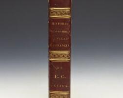 59. davila, historia de las guerras civiles de francia, madrid, 1651. half red morocco