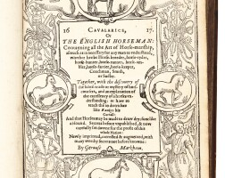 20. markham, cavalarice, or the english horseman. [1617] [bound with] markham's maister-peece, 1615