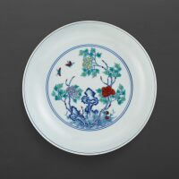 3103. a rare doucai 'flower and butterfly' dish mark and period of yongzheng |